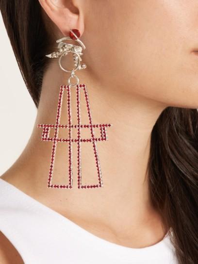 ART SCHOOL Pair Antenna crystal-drop silver earrings / oversized statement jewellery