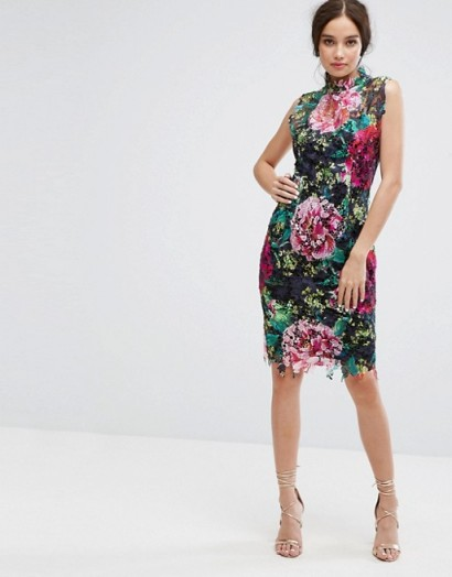 Paper Dolls High Neck Floral Crochet Lace Pencil Dress