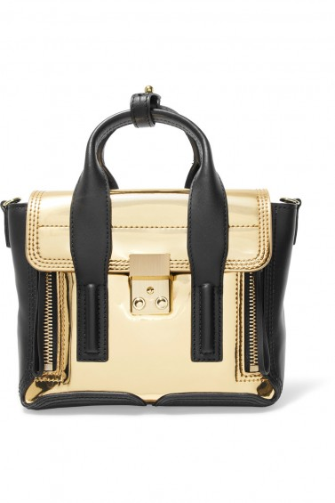 3.1 PHILLIP LIM Pashli Mini paneled metallic leather satchel | gold and black trim bags | top handle handbag