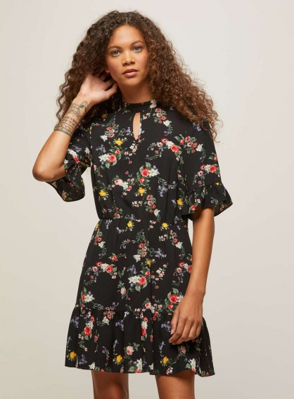 Miss Selfridge PETITE Black Floral Print Tea Dress