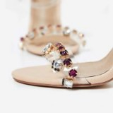 EGO Peyton Jewel Embellished Perspex Heel In Nude Faux Leather ~ clear jeweled party shoes ~ strappy sandals