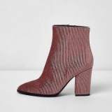 River Island Pink corduroy block heel pointed ankle boots