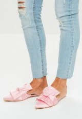 Missguided pink satin bow detail pointed mules ~ luxe style flats