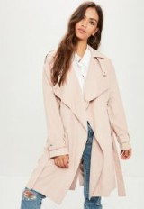 Missguided pink waterfall trench coat ~ belted wrap coats ~ macs