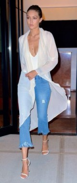 Gigi Hadid looks chic even when she's wearing frayed crop hem jeans