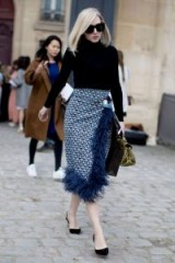 Blue Prada feather trimmed skirt and navy polo neck sweater / Paris street style / stylish looks / chic outfits