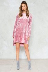 Nasty Gal Pleat and Greet Velvet Dress ~ rose-pink shift dresses ~ affordable luxe