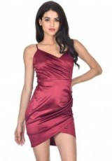 AX PARIS PLUM WRAP FRONT DRESS – asymmetric party dresses