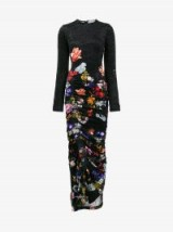 Preen By Thornton Bregazzi Velvet Ruched Floral Maxi Dress ~ flower print dresses