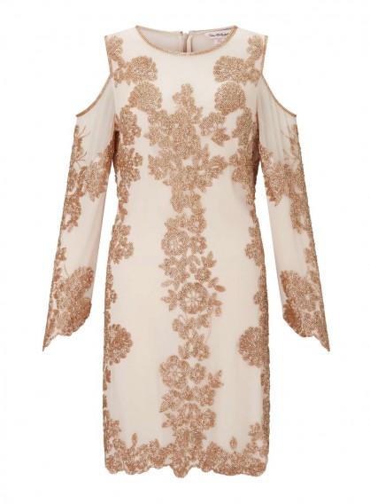 MISS SELFRIDGE PREMIUM Embellished Cold Shoulder Shift Dress / floral dresses
