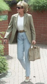 Princess Diana in a check blazer and high waist jeans