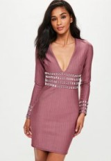 missguided purple bandage plunge mini dress – luxe style plunging party dresses