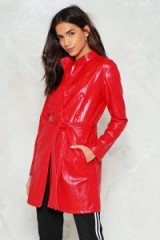 Nasty Gal Rain On Your Parade Vinyl Jacket – red rainwear