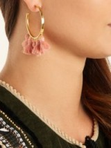 MARTE FRISNES Raquel gold-plated tassel hoop earrings