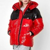 River Island Red colour block oversized puffer coat ~ high shine padded coats