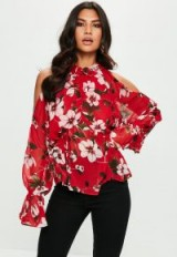 Missguided red floral print cold shoulder chiffon blouse
