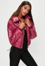 missguided red high shine cropped jacket – padded jackets