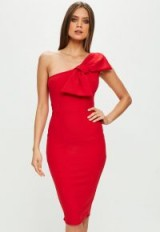 missguided red one shoulder bow detail dress – party dresses