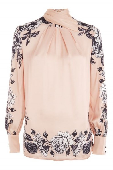 TOPSHOP Reverse Bow Neck Blouse by Boutique / rose-pink floral blouses