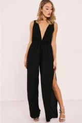 IN THE STYLE RIHANA BLACK SIDE SPLIT PLUNGE JUMPSUIT ~ slit leg jumpsuits ~ party fashion