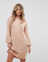 River Island Midi Jumper Dress in Cosmetic – pale pink/nude sweater dresses – knitted fashion