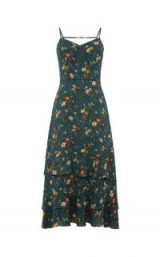 OASIS ROSETTI TIERED MAXI / green strappy floral print dresses