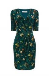 OASIS ROSSETTI VELVET WRAP DRESS ~ green floral dresses