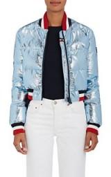 ROSSIGNOL Down-Quilted Crop Jacket | metallic light-blue bomber jackets