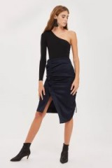 Topshop Ruched Midi Skirt ~ navy blue asymmetric skirts ~ party fashion
