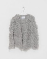 Ryan Roche Cashmere Furry Cardigan | grey shaggy cashmere cardigans