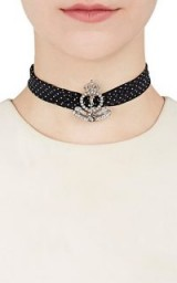 SAINT LAURENT Charm On Silk Wrap Choker | crystal chokers