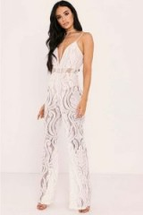 SARAH ASHCROFT WHITE FLOCKED LACE JUMPSUIT ~ sheer plunge front jumpsuits