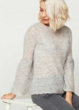 SILVER GREY SEQUIN SLEEVE KNIT ~ luxury style knitwear