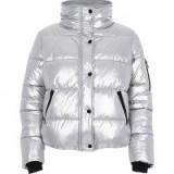 River Island Silver metallic puffer jacket ~ padded funnel neck jackets