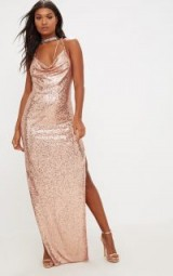 PRETTY LITTLE THING ROSE GOLD SEQUIN CHAIN CHOKER MAXI DRESS – going out glamour