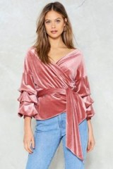 Nasty Gal Soft Touch Velvet Wrap Top ~ rose-pink waist tie tops