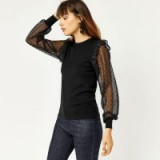 WAREHOUSE SPARKLE WOVEN SLEEVE JUMPER ~ sheer sleeved jumpers