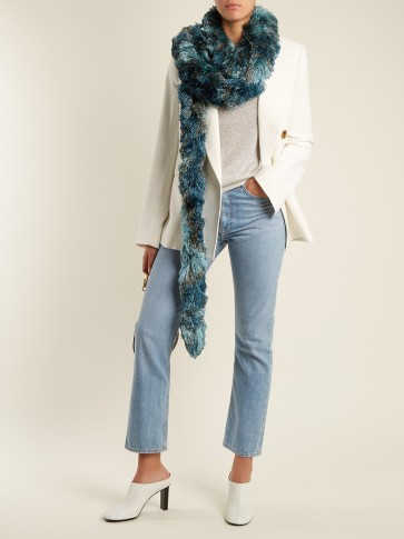 MISSONI Striped metallic-fringed scarf / shimmering blue scarves / winter accessories
