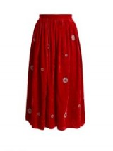 JUPE BY JACKIE Strock floral-embroidered silk-velvet skirt | red gathered waist midi skirts