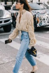 nude pleated high neck blouse and faded jeans / casual chic, stylish looks