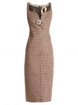 NO. 21 Sweetheart-neck checked dress – chic check print dresses – dogtooth