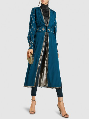 TALITHA Tabia Silk-Crepe Embroidered Robe Jacket ~ luxe evening jackets