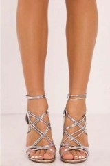 IN THE STYLE TAMMEY SILVER STRAPPY HEELS ~ party shoes