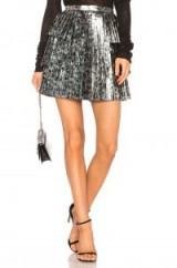 Tanya Taylor SIDRA SKIRT – metallic silver pleated mini skirts