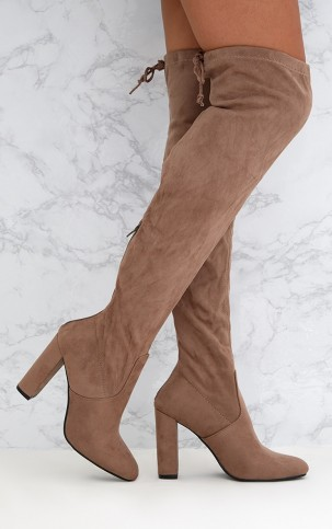 PRETTYLITTLETHING TAUPE FAUX SUEDE OVER THE KNEE BOOTS – winter footwear – neutrals