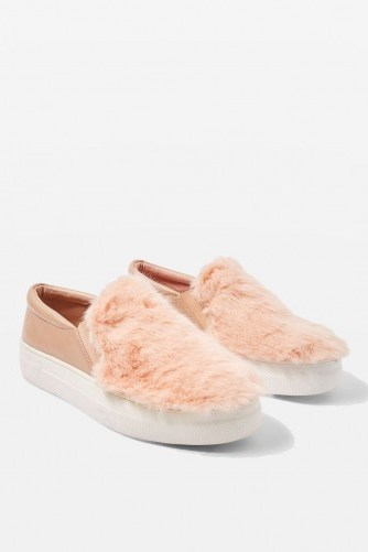 TOPSHOP TEXAS Faux Fur Slip On Trainers / fluffy nude-pink sneakers - flipped