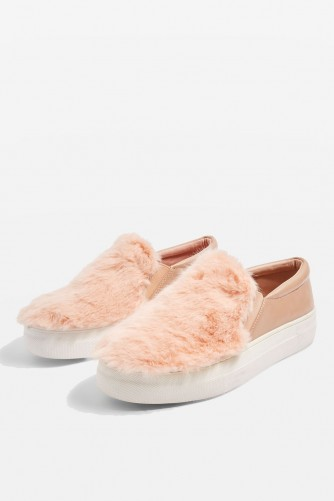 TOPSHOP TEXAS Faux Fur Slip On Trainers / fluffy nude-pink sneakers