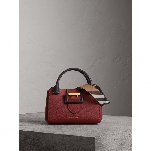 Burberry The Small Buckle Tote in Two-tone Leather / chic burgundy bags