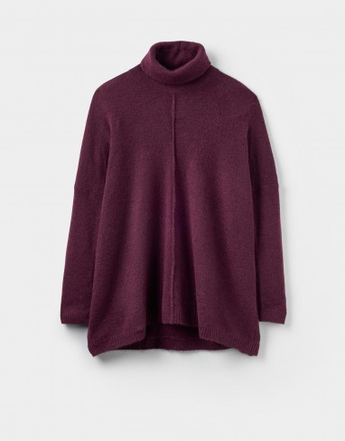 JOULES TIREE PONCHO STYLE JUMPER / plum-purple roll neck ponchos / knitwear