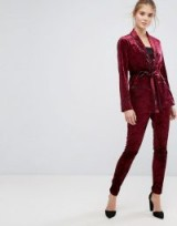 True Decadence Premium Crushed Velvet Skinny Pant | burgundy-red trousers